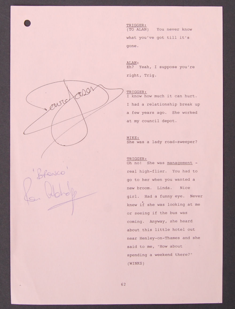 Lot 115 - ONLY FOOLS & HORSES - DUAL AUTOGRAPHED SCRIPT PAGE