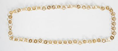 A stamped 9ct Italian gold ladies necklace constru
