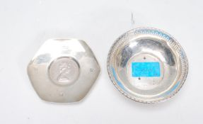 A silver hallmarked pin / trinket dish bowl having
