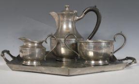 James Dixon- A vintage pewter coffee service consi