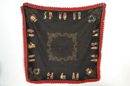 An early 20th Century French embroidered felt tabl