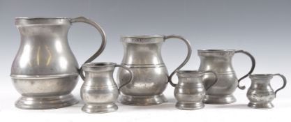 EARLY 19TH CENTURY GRADUATING PEWTER POT BELLY MEA