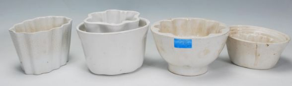 A group of five ceramic jelly moulds dating from t