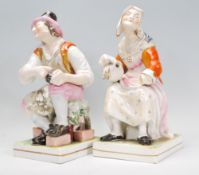 Staffordshire - Large and rare pair of pearlware f