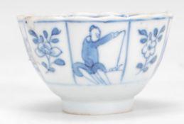 A 19th Century Chinese blue and white tea bowl rai