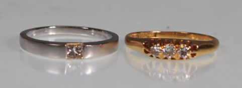 TWO 18CT GOLD AND DIAMOND RINGS TO INCLUDE SOLITAI