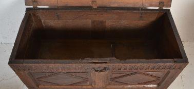 An 18th century antique oak coffer / chest having