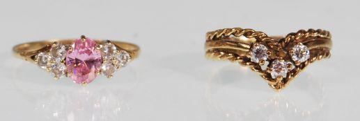 TWO HALLMARKED 9CT GOLD GEM SET DRESS RINGS