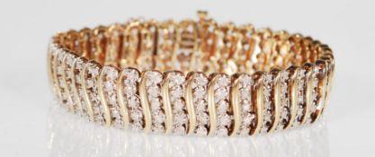 9CT GOLD AND DIAMOND BRACELET APPROX 2CTS DIAMONDS