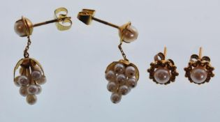 Two pairs of ladies gold earrings to include a pai