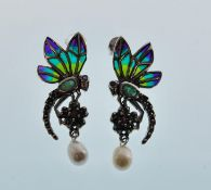 A pair of stamped 925 silver plique a jour earring