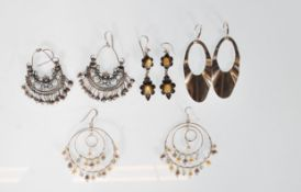 A selection of stamped 925 silver earrings to incl
