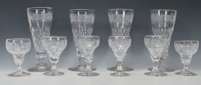 A good set of 6 acid etched 19th century sherry /
