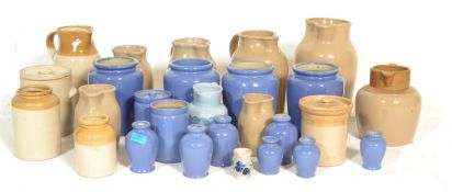 A large collection of stoneware glazed pottery. Ma