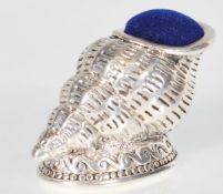 A stamped 925 silver pin cushion in the form of a