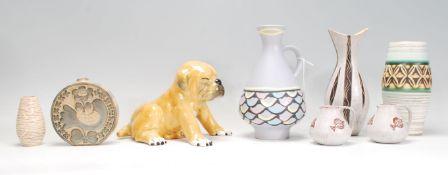A small group of retro 20th Century mix ceramic wa