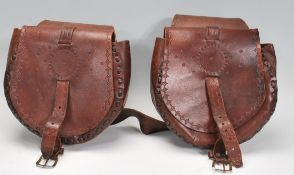 A pair of vintage 20th Century brown leather stitc