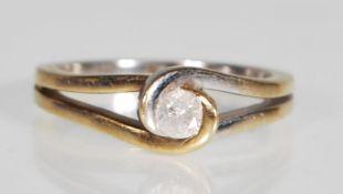 An English hallmarked 9ct white gold diamond solit