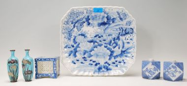 A collection of Japanese blue and white ceramics d