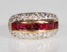 A 9ct gold ruby and white stone Art Deco style dre