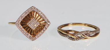 TWO 9CT GOLD AND DIAMOND RINGS