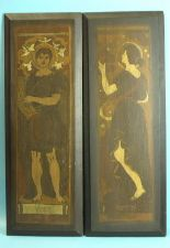 Lot 255 - A pair of painted softwood panels, Apollo Fidicen depicting the god of music and a companion, Errto,