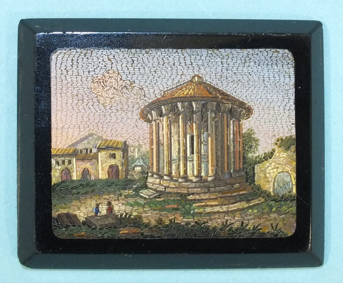 Lot 261 - A 19th century rectangular micro-mosaic plaque decorated with figures before a Roman rotunda and
