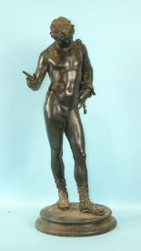 Lot 260 - A late 19th century bronze statue of Antinous on circular plinth with Verdigris patination and