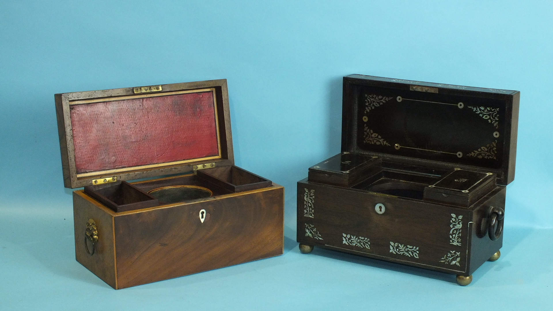Lot 273 - A Regency rosewood and mother of pearl inlaid tea caddy of rectangular form, with wood carrying