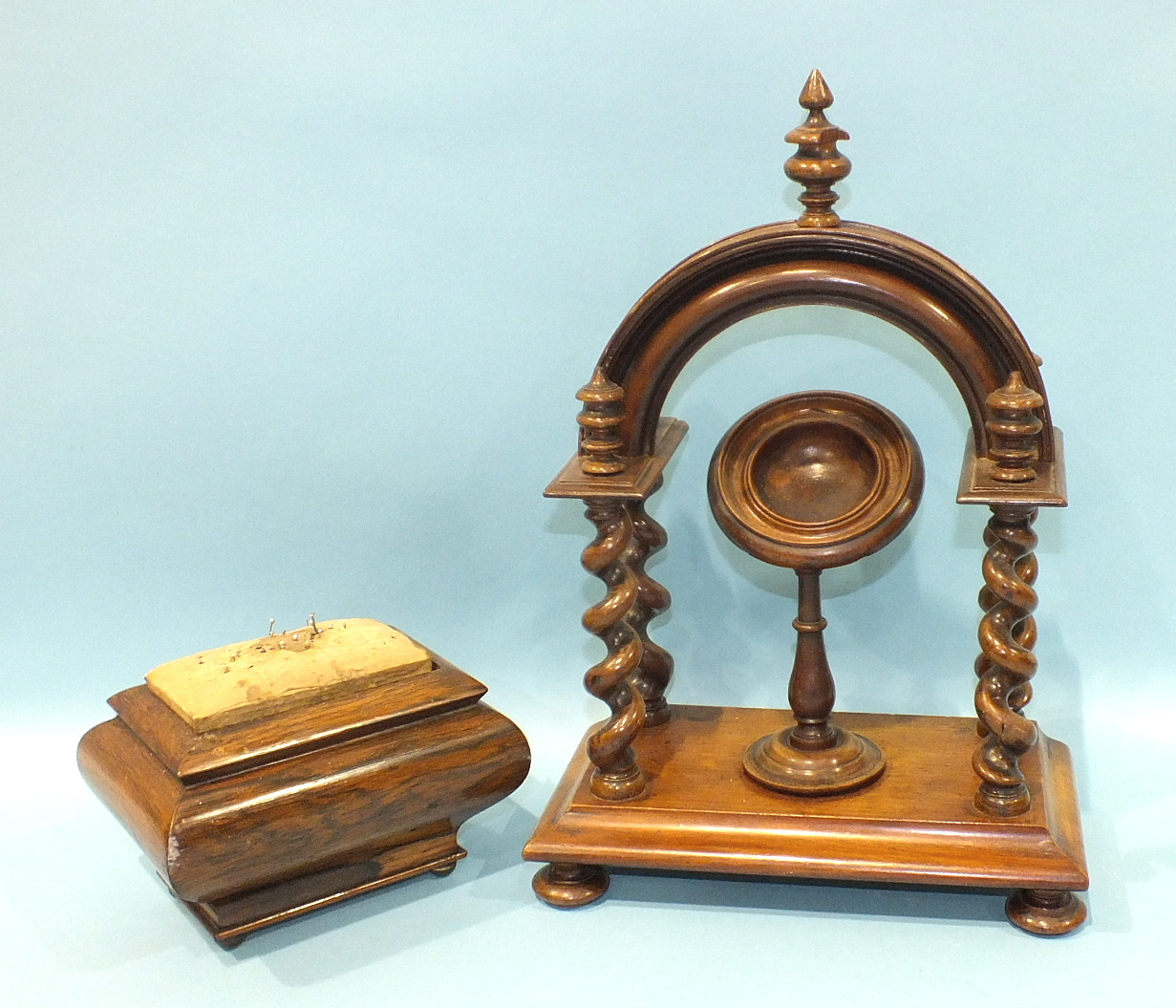 Lot 241 - A late-19th/early-20th century mahogany watch stand of arched portico shape, 36cm high and a