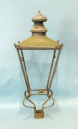 Lot 262 - A painted copper gas street lantern top of typical square tapered form complete with glass panels,