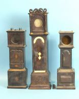 Lot 268 - Three watch holders in the form of long case clocks, 40cm, 30cm and 29cm, (a/f), (3).