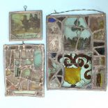 Lot 272 - Fragments of 17th and 18th century stained glass windows later mounted in leaded panels, one bearing