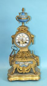 Lot 127 - A 19th century French gilt spelter and porcelain mounted mantel clock with bell-striking drum