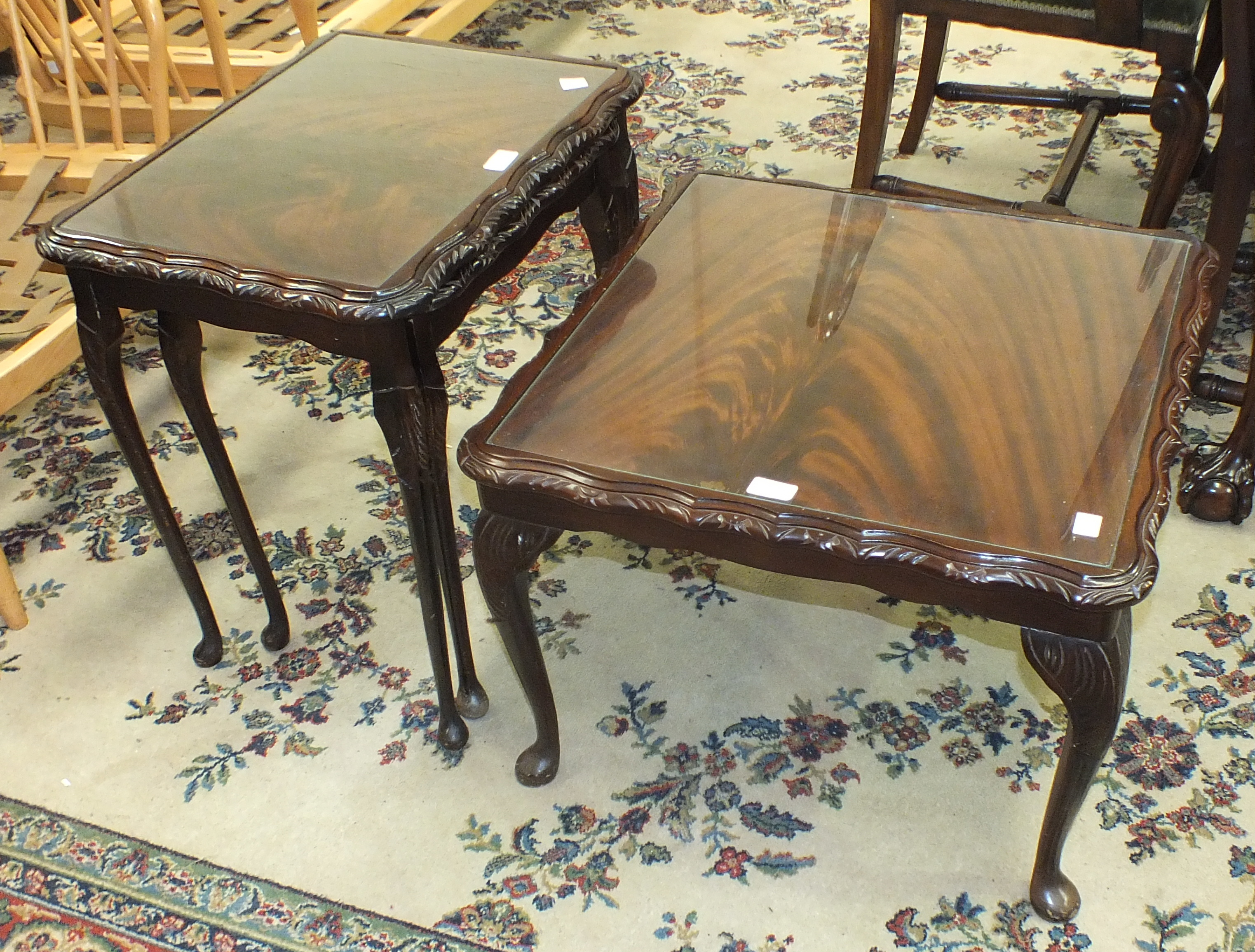 Lot 55 - A stained mahogany square-top coffee table on cabriole legs, 60cm square, 41cm high and a matching