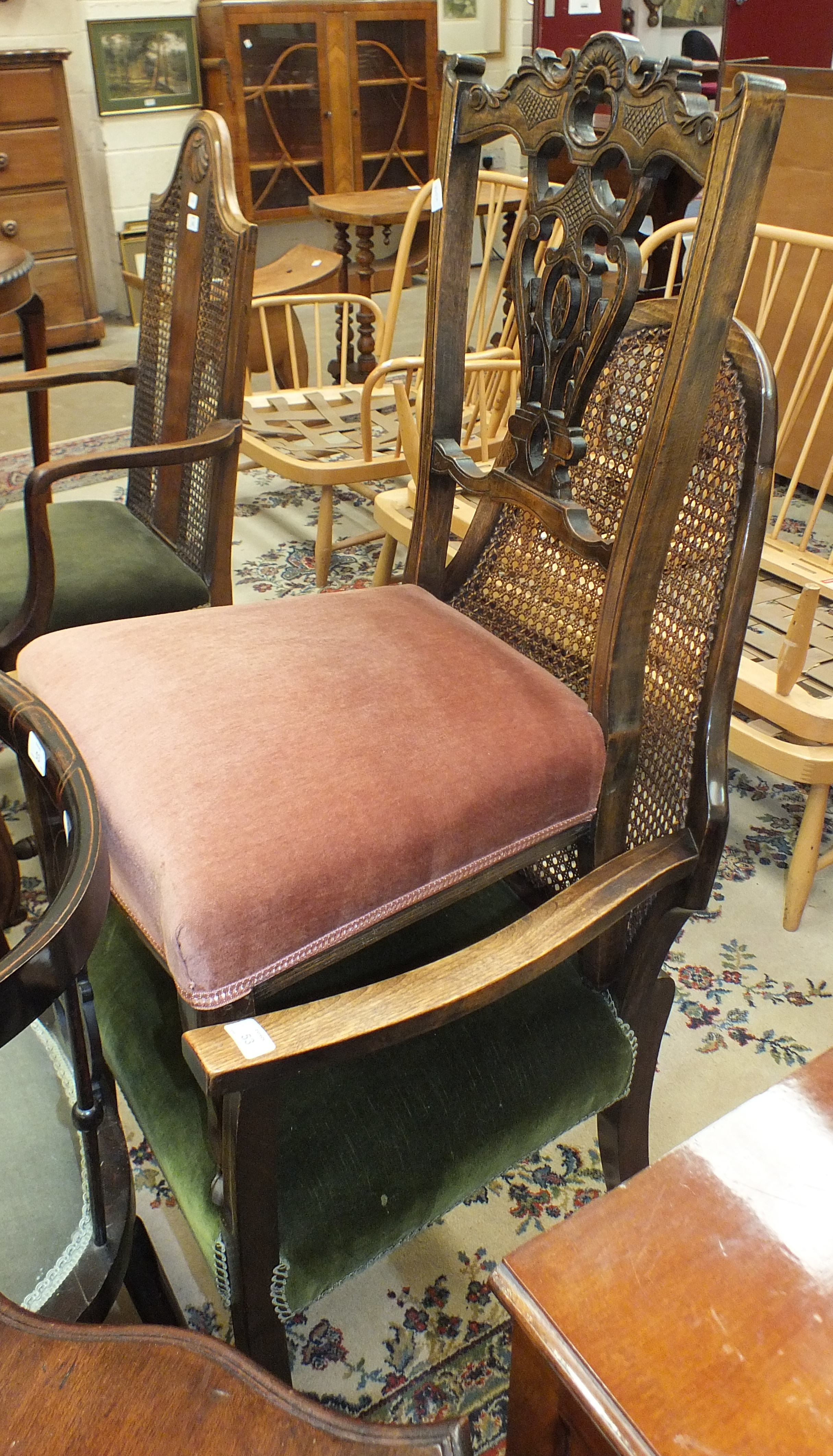 Lot 53 - An Edwardian stained wood armchair with padded seat, an Edwardian corner chair, a caned-back