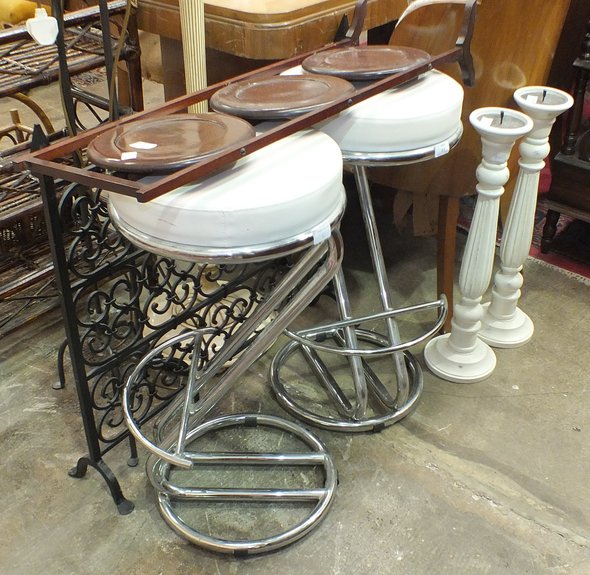 Lot 11 - A mahogany three-tier folding cake stand, a pair of modern chrome-framed breakfast bar stools and