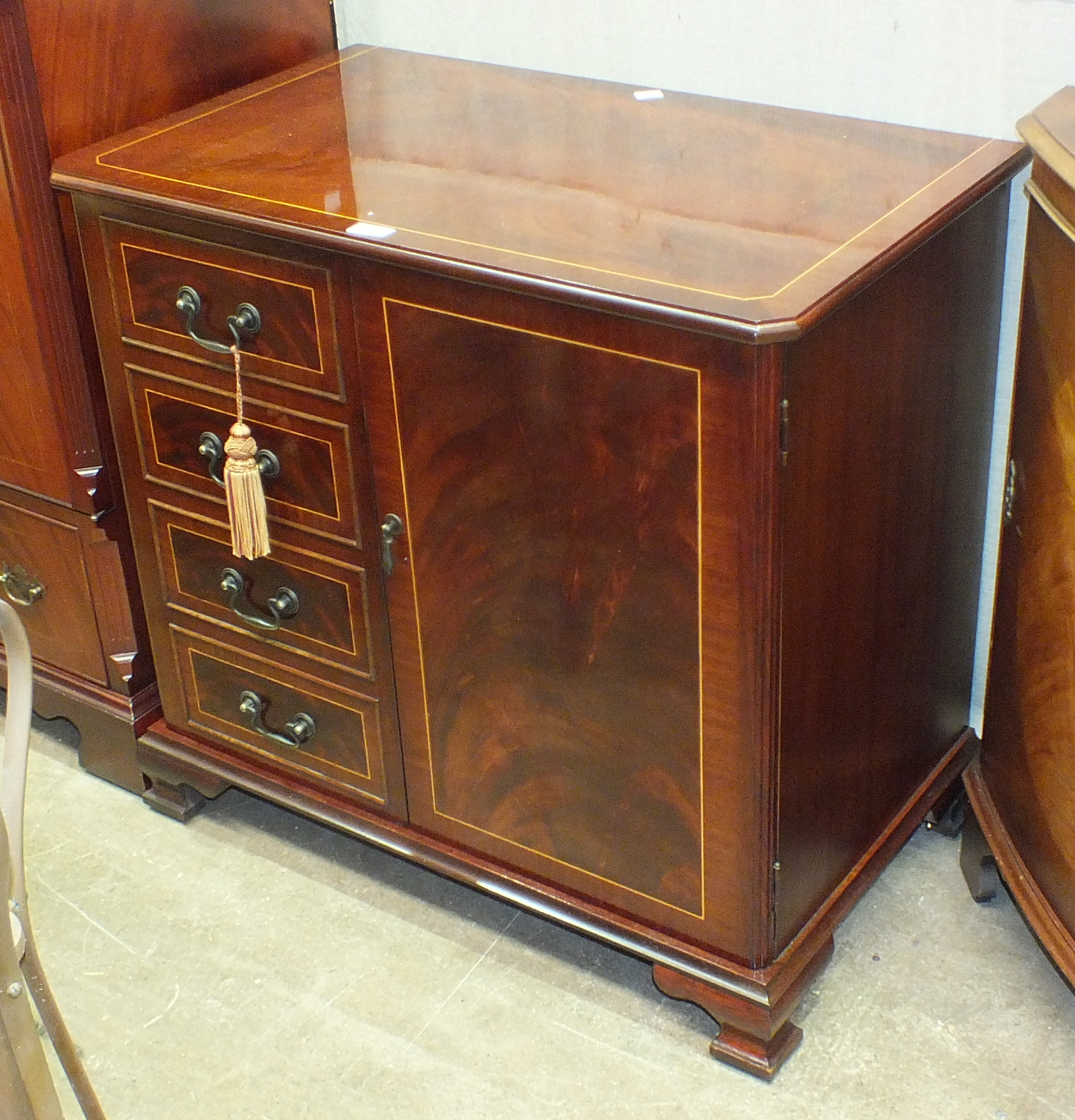 Lot 16 - A reproduction mahogany finish Hi-Fi cabinet and other reproduction furniture.