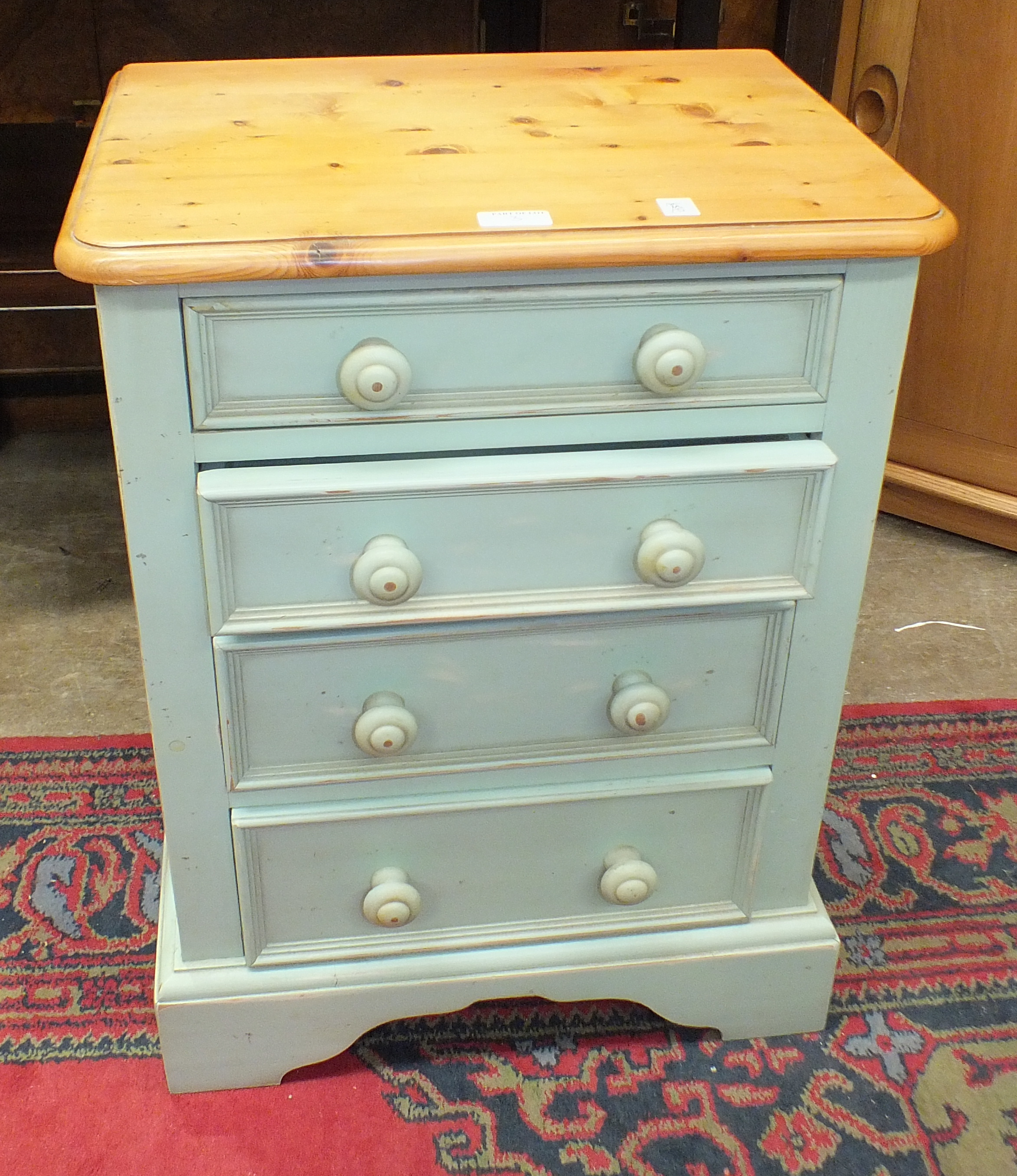 Lot 3 - A pair of Yesterday's Pine of Gainsborough blue-painted narrow chests with six graduated drawers,