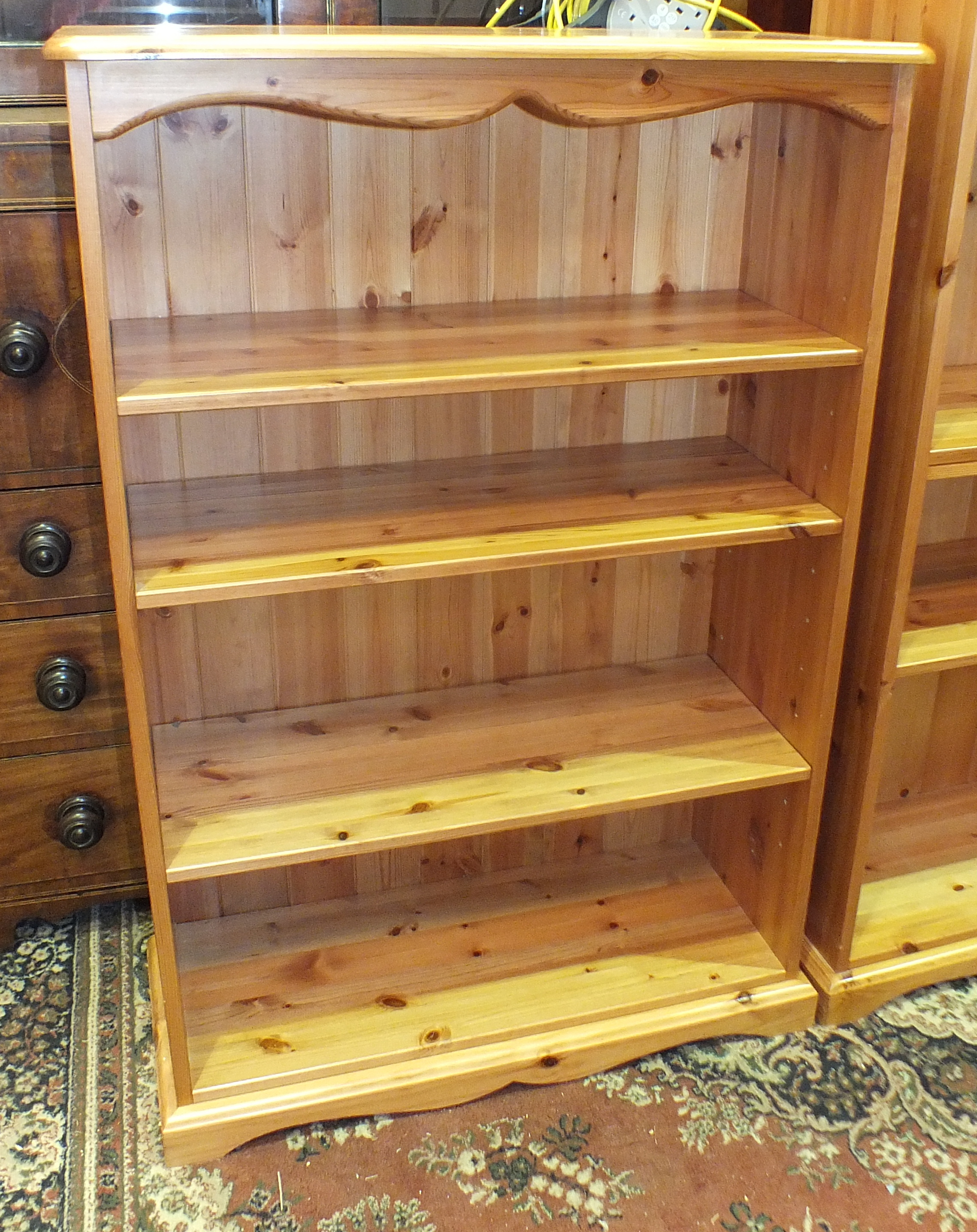 Lot 50 - A set of modern pine open shelves, 80cm wide, 183cm high and a similar smaller set, 80cm wide, 120cm