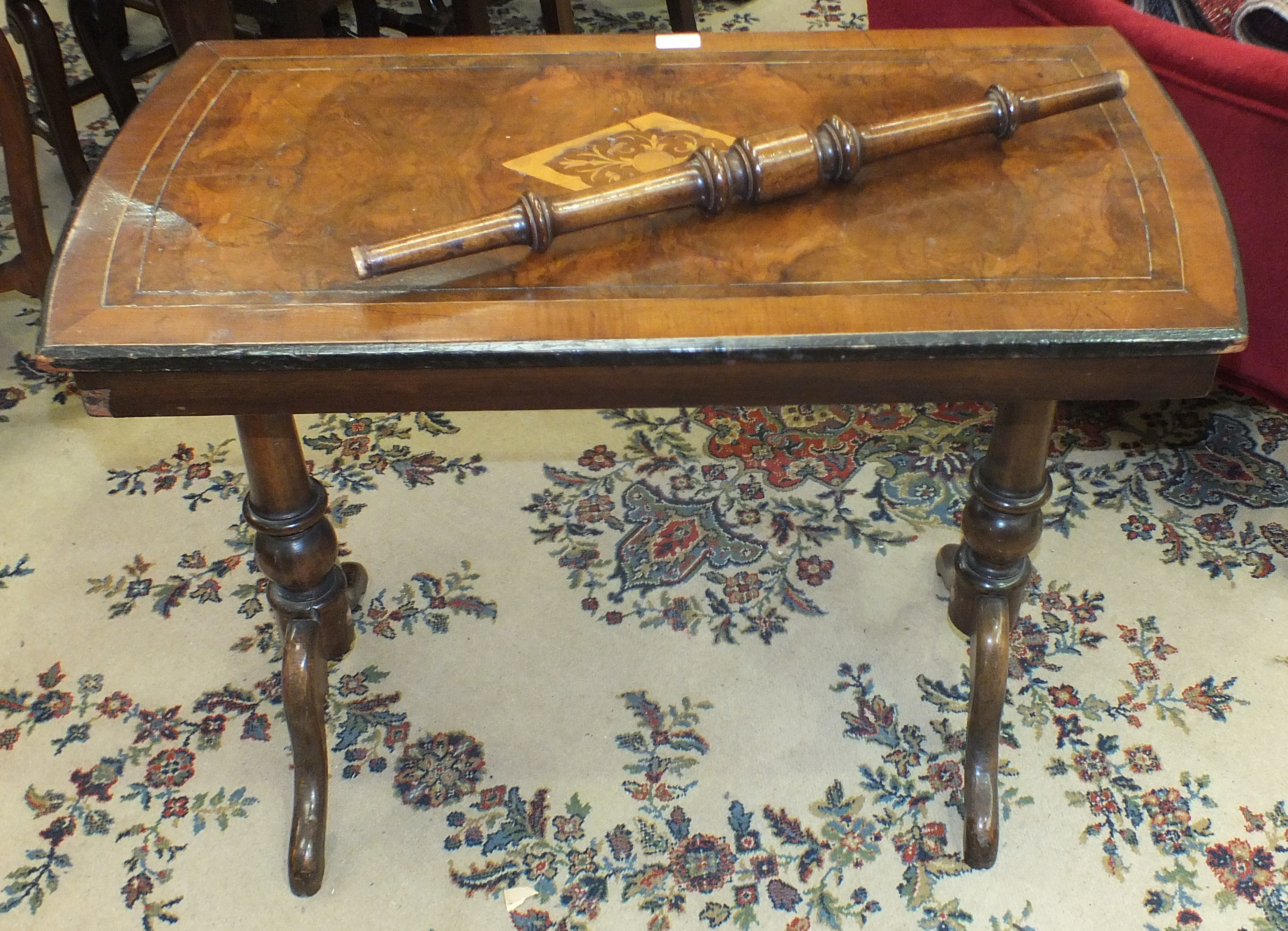 Lot 5 - A late-Victorian inlaid and stained wood rectangular table, (a/f), an oak occasional table with
