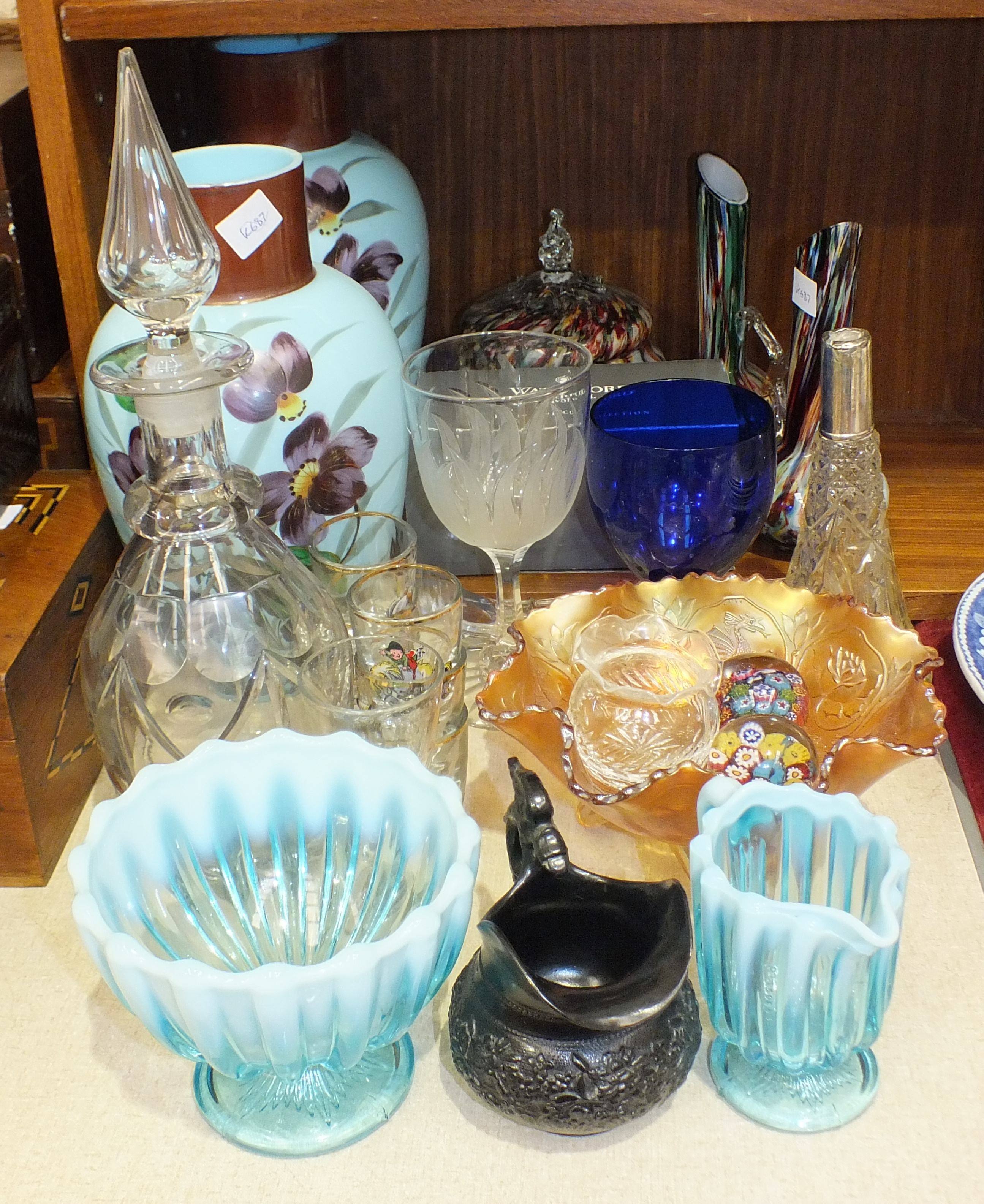 Lot 75 - A pair of blue opaque glass vases decorated with flowers, 28cm high, a cut-glass decanter and