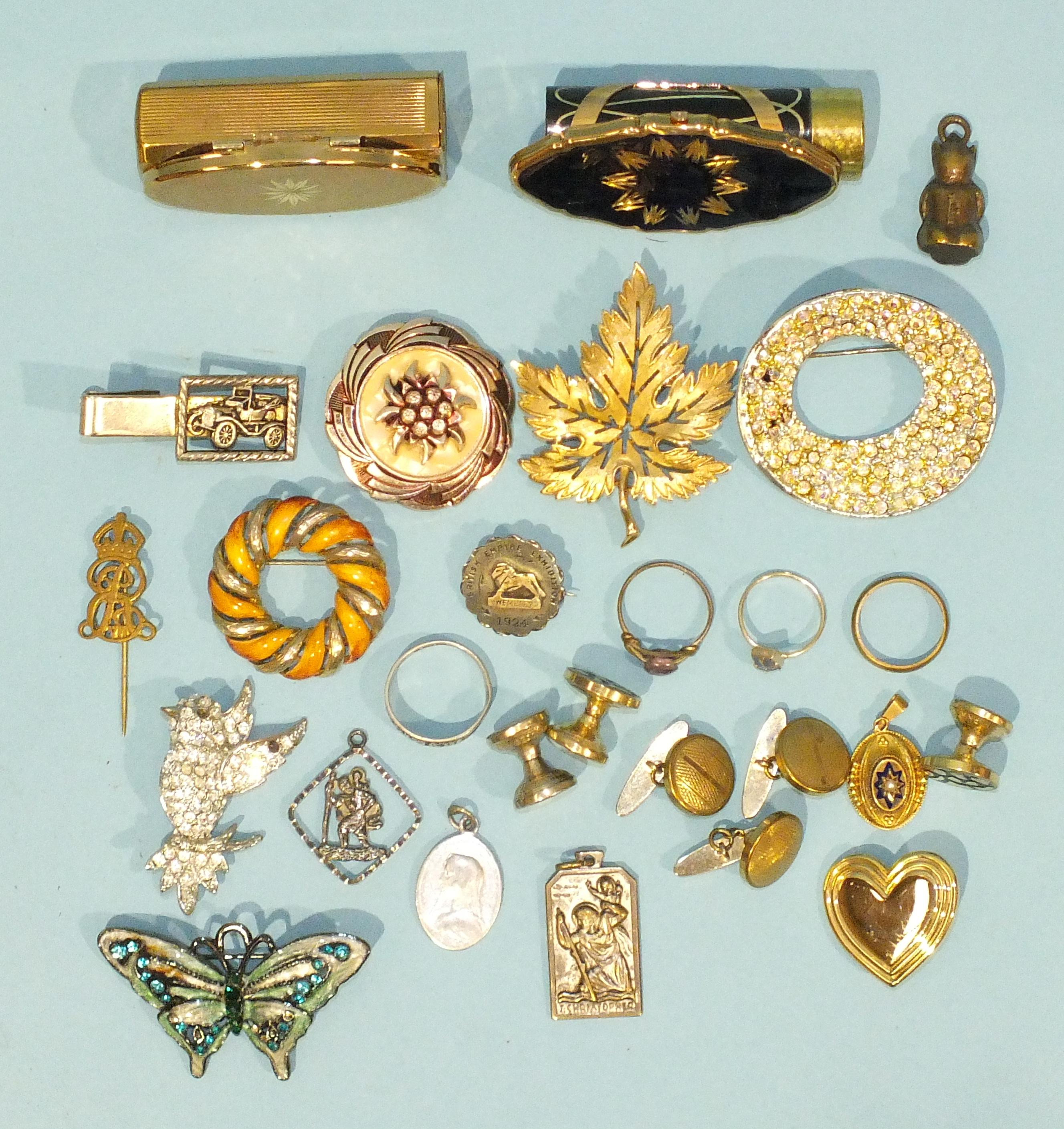 Lot 195 - A sterling silver British Empire Exhibition 1924 badge, a small Victorian pendant, etc.