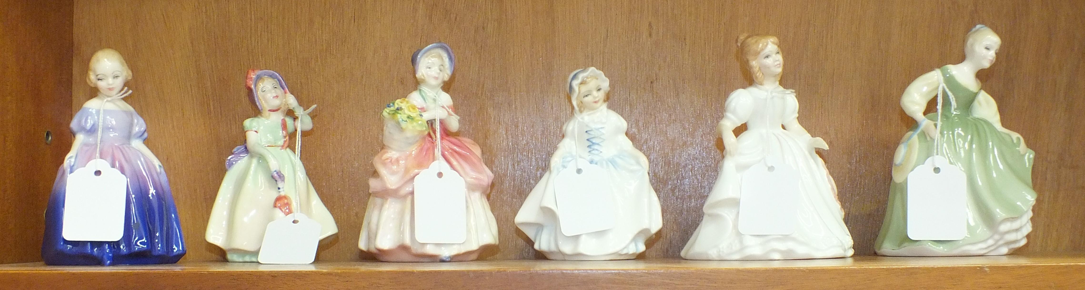 Lot 125 - Six Royal Doulton figurines: 'Babie' HN1679, 'Marie' HN1370, 'Dinky Do' HN3618, 'Cissie' HN1809, '