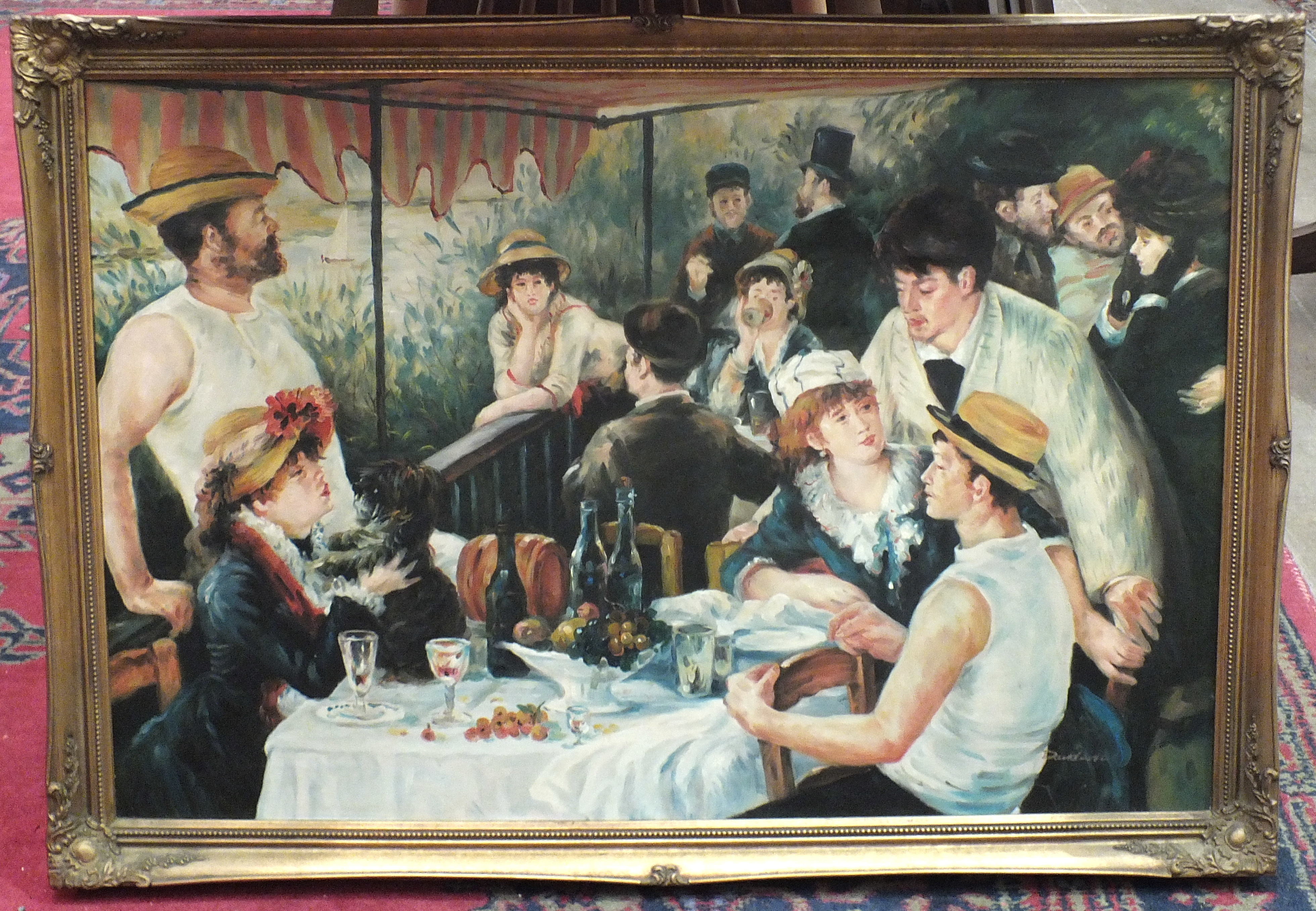 Lot 120 - Davidson, 20th century, after Renoir, 'Luncheon of the Boating Party', oil on canvas, signed, etc.