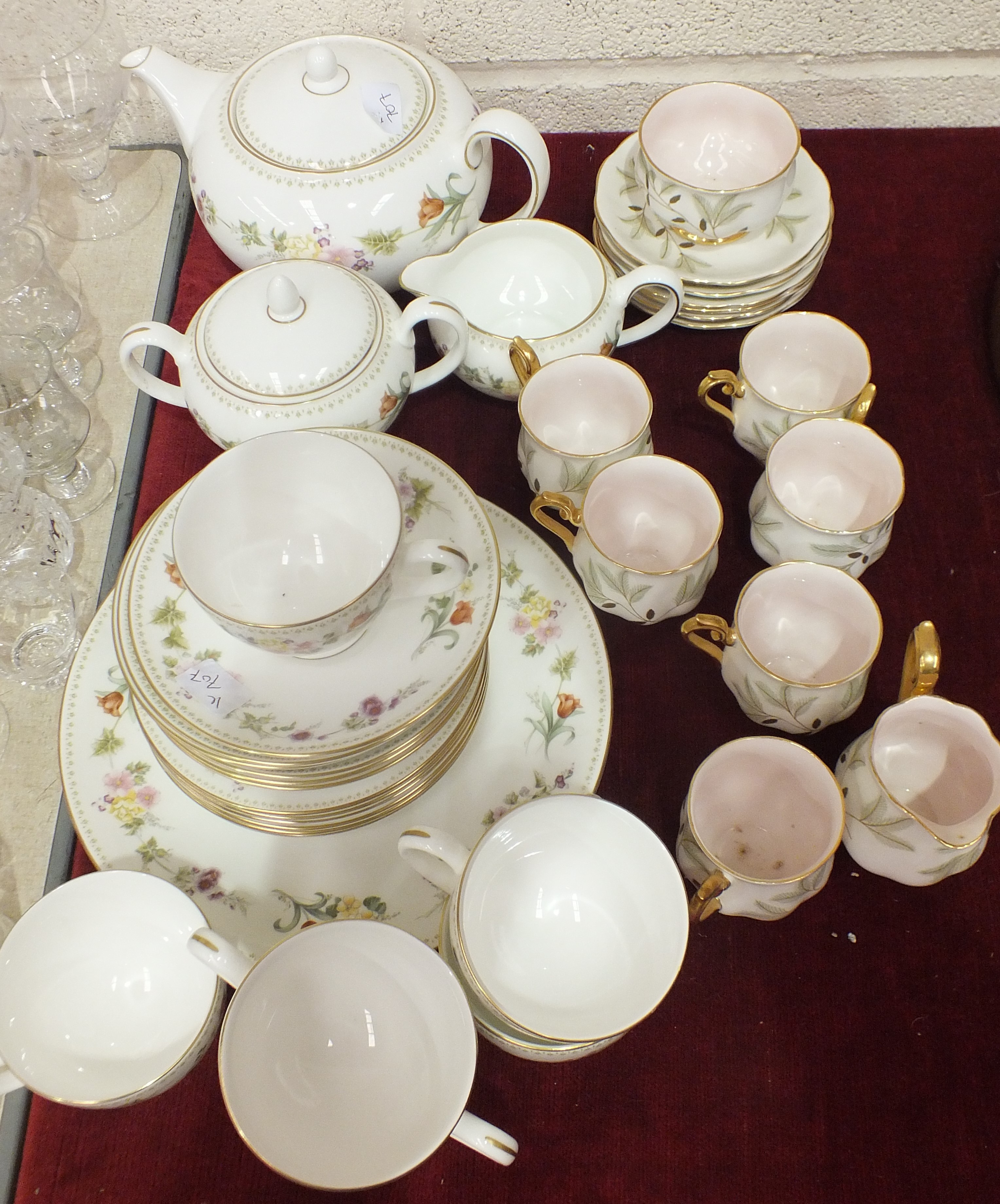Lot 66 - A Wedgwood bone china tea service in the 'Mirabelle' pattern, 22 pieces, a Royal Albert 'Braemar'