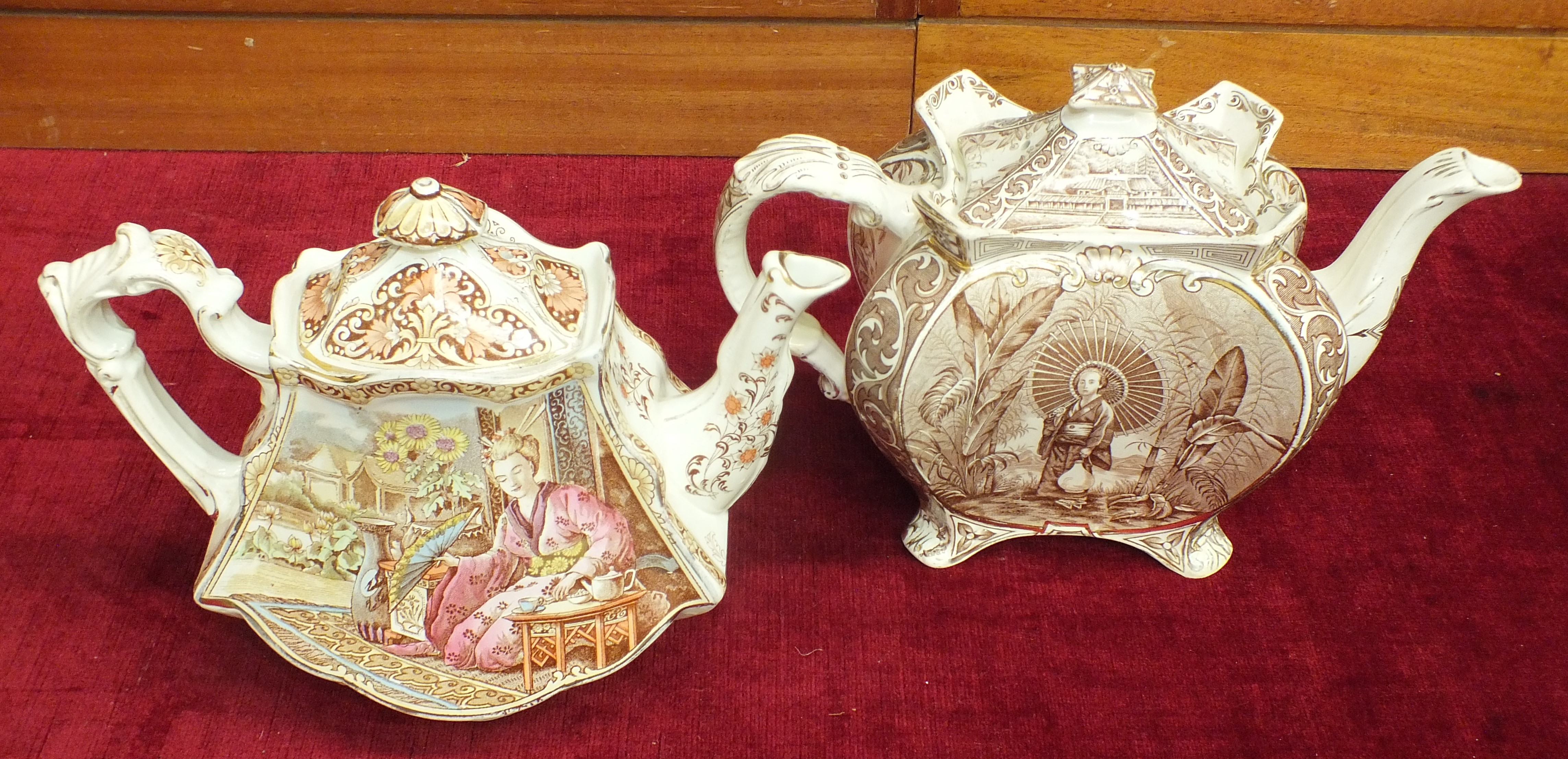 Lot 141 - A Burgess & Leigh concave-sided transfer-printed teapot decorated with a geisha, 20cm high and a