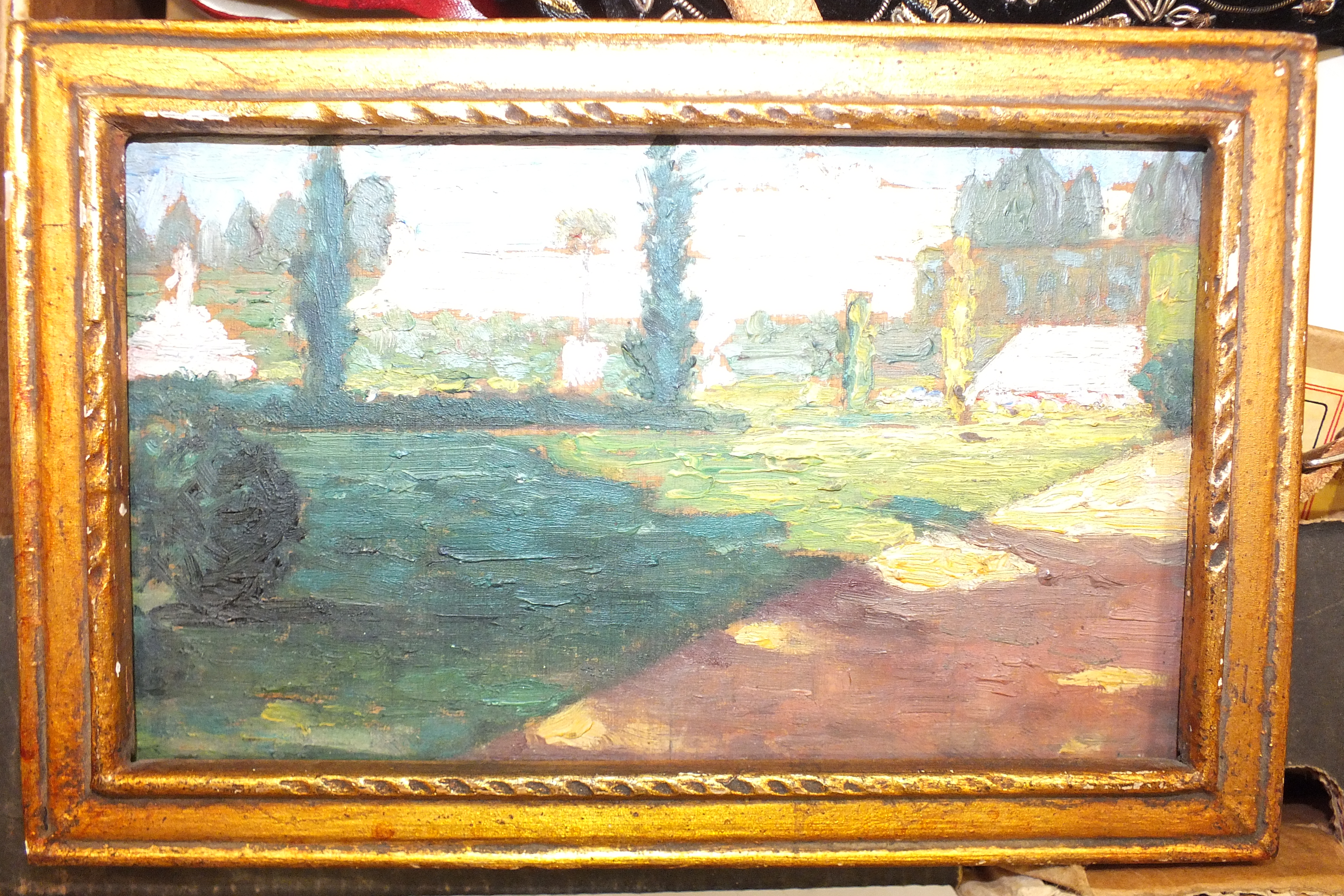 Lot 116 - Ch Faurie?, 'Versailles', oil on panel, inscribed in pencil and dated 1910, 9 x 16cm, a pair of
