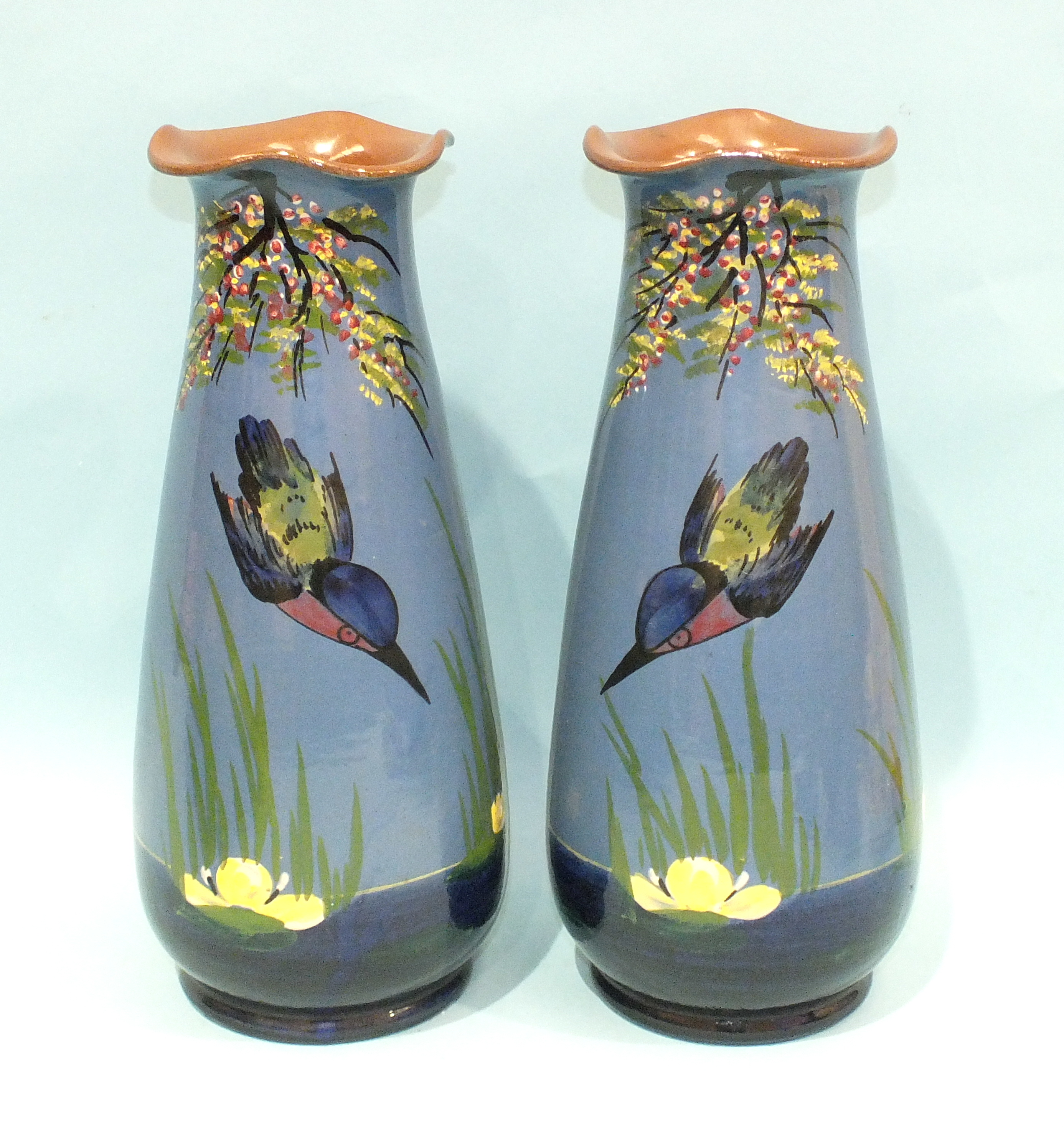 Lot 68 - A pair of Longpark Torquay Pottery baluster vases decorated with diving kingfishers, 31cm high and a