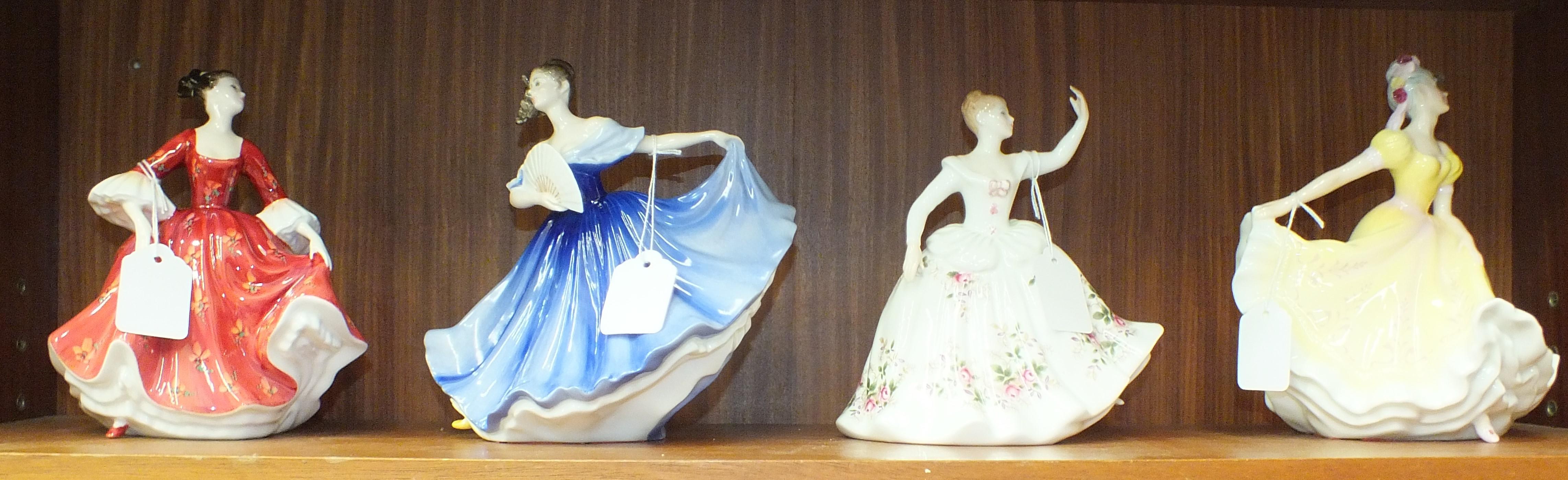 Lot 126 - Four Royal Doulton figurines: 'Ninette' HN2379, 'Stephanie' HN2811, 'Elaine' HN2791 and 'Shirley'